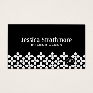 Mod Black and White Flowers Business Card