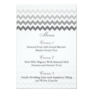 Mod chevron gray  Ombre wedding menu cards 13 Cm X 18 Cm Invitation Card