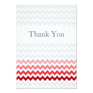 Mod chevron red Ombre wedding Thank You 13 Cm X 18 Cm Invitation Card