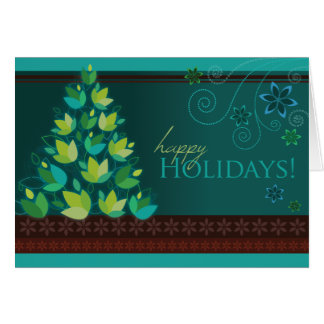 Mod Christmas Tree - Teal Greeting Card