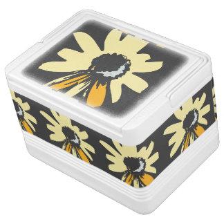 Mod daisy pale yellow and ochre black pattern chilly bin