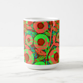 Mod-Floral-70's_Retro_Lime_Orange Magic Mug