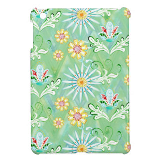 Mod Floral Flowers Art Hand Painted Chevron Stripe Case For The iPad Mini