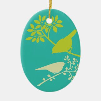 Mod Green Birds Ceramic Oval Decoration