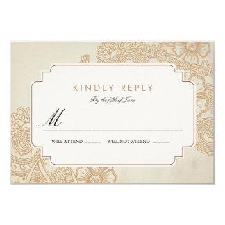 Mod Mehandi Wedding RSVP 9 Cm X 13 Cm Invitation Card