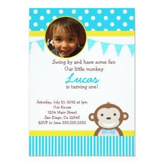 Mod Monkey Birthday Party Invitations for Boy