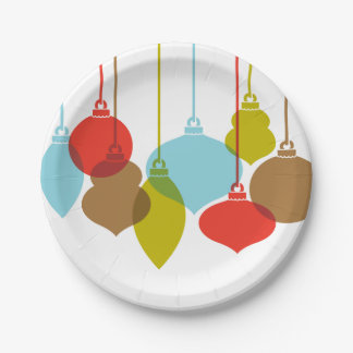 Mod Ornaments Retro Christmas Paper Plate 7 Inch Paper Plate