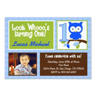 mod owl 1st birthday photo invitation for boys