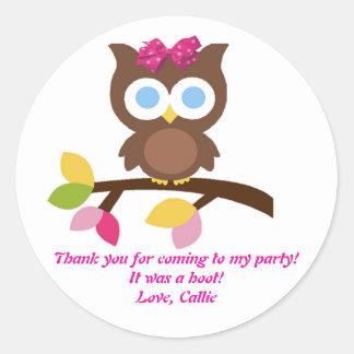 Mod Owl Design Birthday Party Invitation Favors Classic Round Sticker