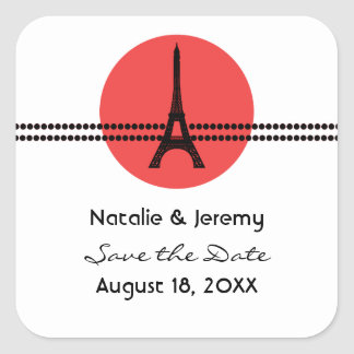 Mod Parisian Dots Save the Date Stickers, Red Square Sticker