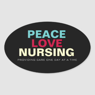 Mod Peace Love Nursing Oval Sticker