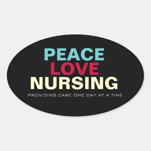 Mod Peace Love Nursing Oval Sticker