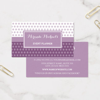 Mod Purple and White Polka Dots Event Planner Business Card
