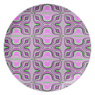 mod retro pink pattern plate