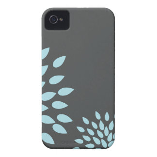 Mod Sky Blue Flower on Gray Background iPhone 4 Cases