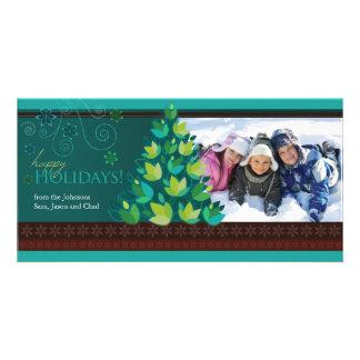 Mod Tree Holiday Photocard - Dark Teal Card