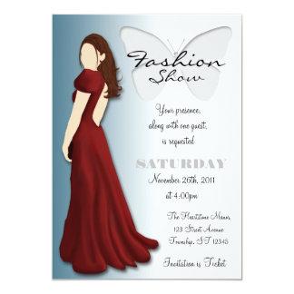 "Model Butterfly Elegant Fashion Show Invitation 5"" X 7"" Invitation Card"