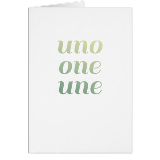 Modern 1st Birthday Card green Ombre Uno One Une