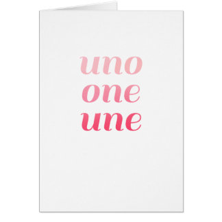 Modern 1st Birthday Card Pink Ombre Uno One Une