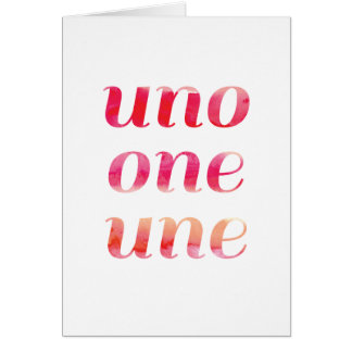Modern 1st Birthday Card Pink Watercolor Uno One
