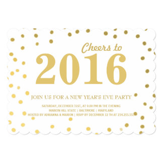 Modern 2016 Gold Confetti New Years Eve Party Card