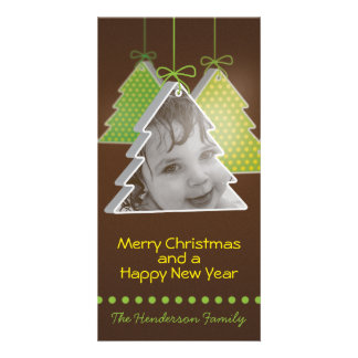 Modern 3d Christmas tree -photo christmas  card Personalized Photo Card