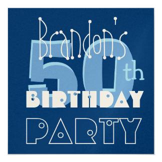 Modern 50th Birthday Party Blue Metallic Template Card