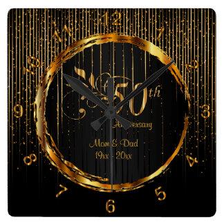 Modern 50th Golden Galaxy Anniversary Design Wallclock