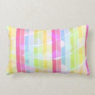 Modern abstract colorful stripes polka dots lumbar pillow