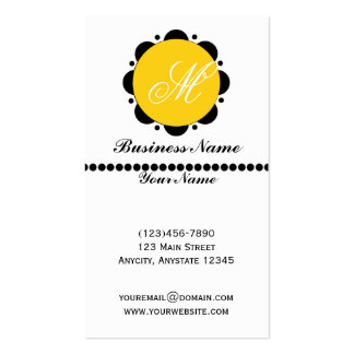 Modern Abstract Daisy Graphic in Yellow and Black Pack Of Standard Business Cards
