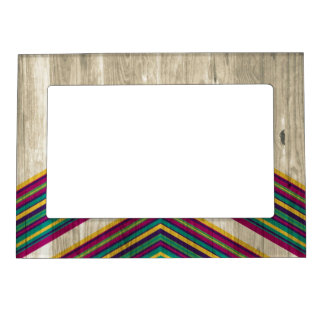 Modern Abstract Geometric Pattern on Wood Magnetic Picture Frame