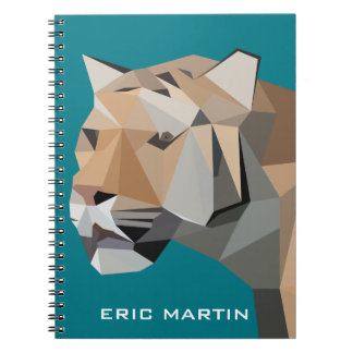 Modern Abstract Geometric Tiger Personalized Name Spiral Notebook