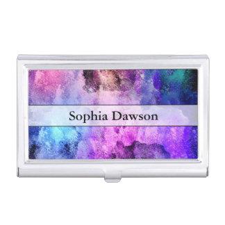 Modern Abstract Paint Splatters Business Card Holder