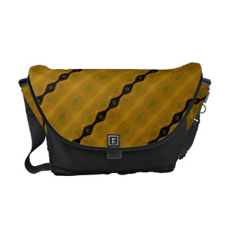 Modern Abstract Stripe  in Black, Gold, and Olive Courier Bag