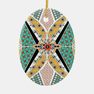 Modern Africa Centre Vibrant Pattern Ceramic Oval Decoration