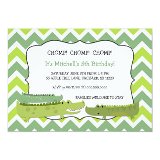 Modern alligator crocodile birthday party invites