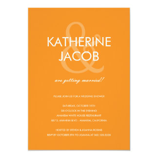 Modern Ampersand Wedding Shower Invites Orange
