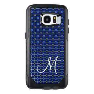Modern Antique Tiles Pattern Design in Dark Blue OtterBox Samsung Galaxy S7 Edge Case