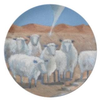 Modern Art Plate - Sheep And Tornado
