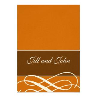 Modern Autumn Wedding Invitations Orange Brown