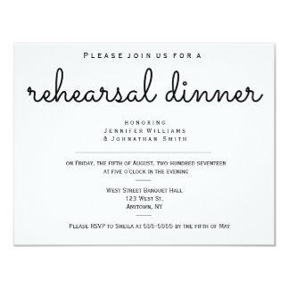 Modern b&w rehearsal dinner invitations
