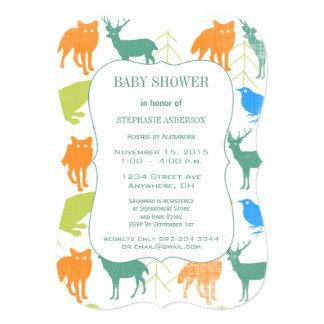 Modern Baby Boy Woodland Creatures Shower Card