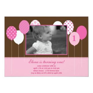 Modern Balloons Photo Birthday Invitation - Pink