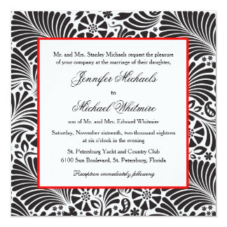Modern Baroque Floral Black and White Wedding Card