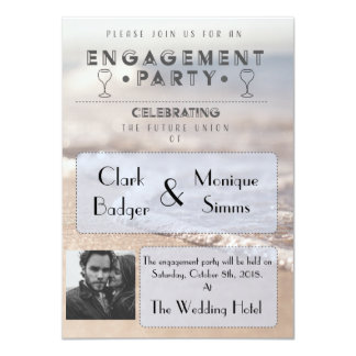 Modern Beach Engagement Party Invitation