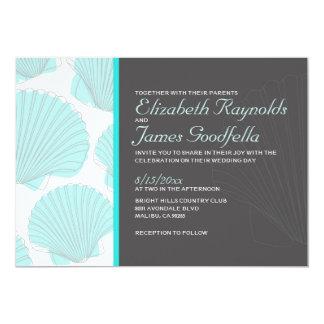 Modern Beach Seashells Destination Wedding Invites