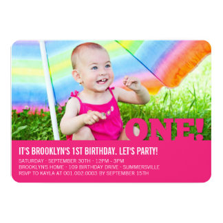 Modern Big ONE Baby Girl First Birthday Party Card