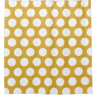 Modern Big White Dots on Gold Shower Curtain
