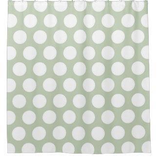 Modern Big White Dots on Gray Shower Curtain