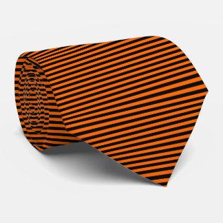 Modern Black and Orange Pinstripe Stripes Tie